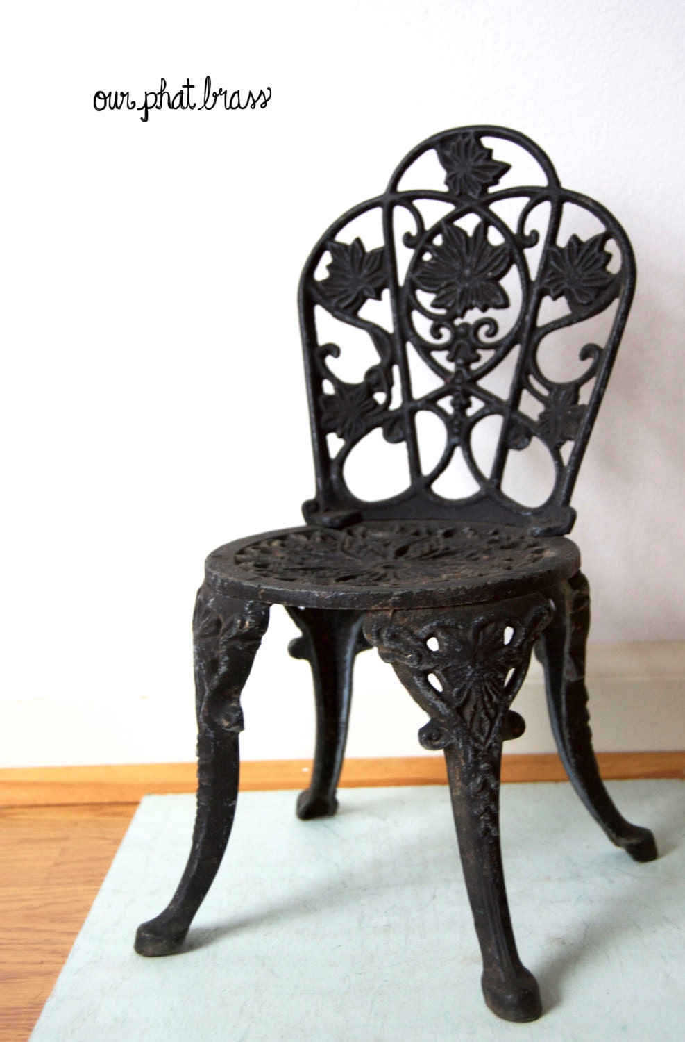 Small Black Cast Iron Chair Flower Pot Holder Doll House