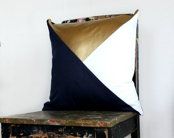 Geometric Navy Blue, White & Metallic Gold Pillow Cover, Geometric Cushion Cover, Navy White Gold, Decorative Throw Pillow,  Accent Pillow