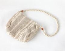 70s Macrame Boho Bag | Cream Woven Shoulder Bag | Cross Body Purse | Vintage Festival Bag | Hippie Vegan