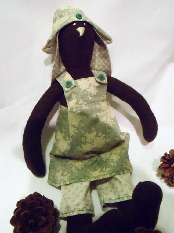 brown Tilda bunny,  rabbit doll, plush rag doll, collectable doll, nursery décor, easter gift, green floral outfit,