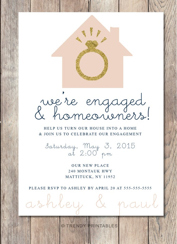 Engagement party invitation housewarming party by for Invitation for engagement party
