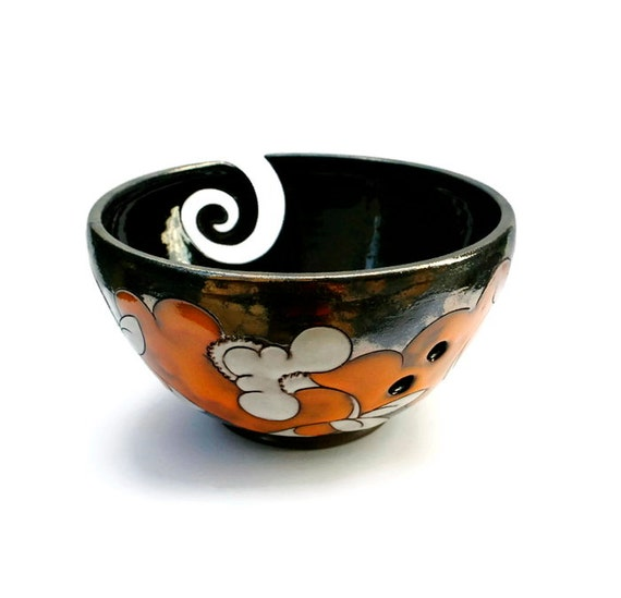 Yarn Bowl with Flowers Pottery Yarn Bowl by MMceramicdesign