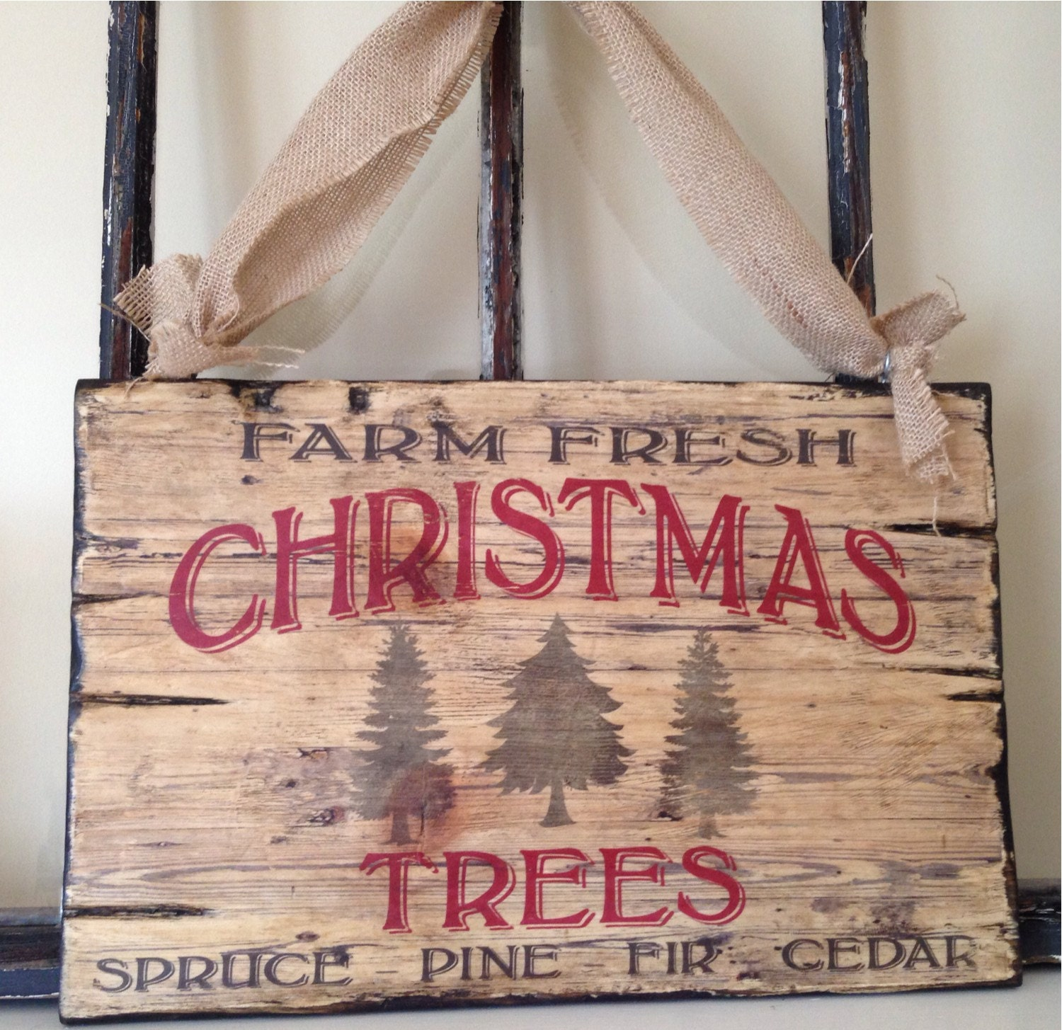 Vintage typography christmas tree wood sign art holiday