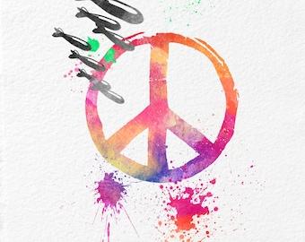 Watercolor Art  Gift Modern 5x7 8x10 11x14 Wall Art Decor Give Peace a Chance Print Art Give Peace a Chance Wall Art