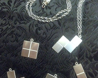 Tetris Block Stainless Steel Necklace