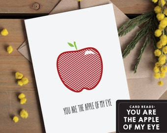 Valentines Card / Love Greetings Card / Anniversary card - The apple of my eye. I love you - Simple modern greetings card