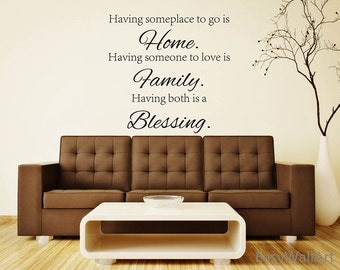 Vinyl Wall Words Decal - Blessing Home Family Wall Words Sticker - Vinyl Blessing Family wall art decor Blessing WallWall Stickers Home#Q135