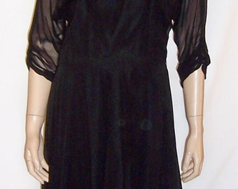Late 1950's Black Chiffon Gown with Sweetheart Neckline