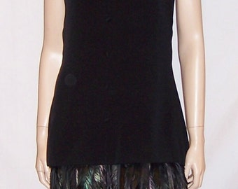 Stunning 1960's Little Black Dress with Coque Feathered Trim