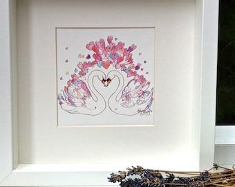 Romantic Valentine Swans watercolour pencil drawing Original Art Gift