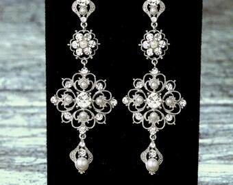 Pearl Chandelier Bridal Earrings, Pearl Bridal Earrings, Vintage Style Pearl Earrings, Pearl Wedding Earrings