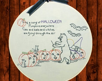 Halloween Embroidery Pattern - Halloween Chorus - Digtial Download