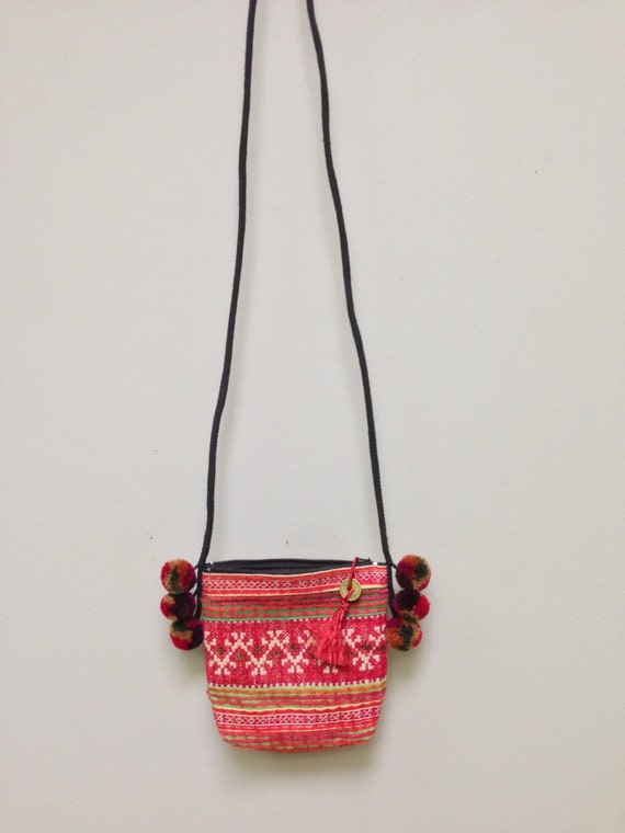 Chinese Purse Hmong Embroidered Purse Hill Tribe Handmade Colorful Shoulder Bag Purse Hand Woven Gift for Her Tribal