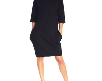 Black Cotton Heavier Weight Jersey Minimalist Oversized Dress With Pockets And Asymmetric Collar