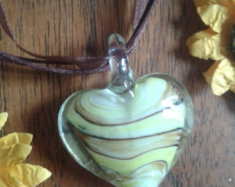 Murano glass striped heart pendant necklace - Yellow/Brown