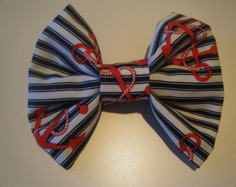 Navy and White Striped Nautical Hair Clip
