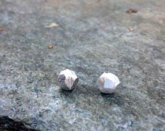 Sterling Silver Facet Studs