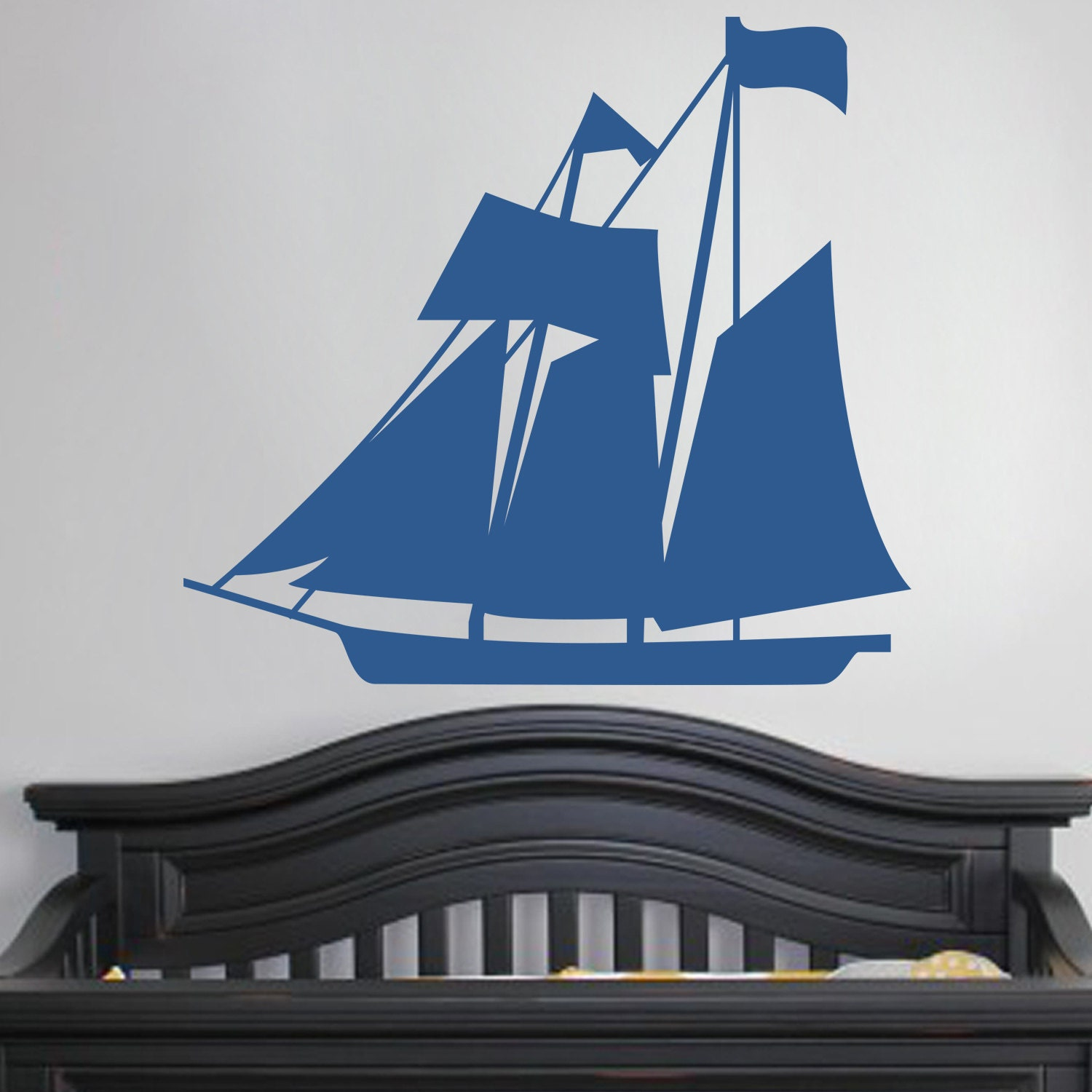 nautical sail boat wall vinyl decal sticker family kids room. Black Bedroom Furniture Sets. Home Design Ideas