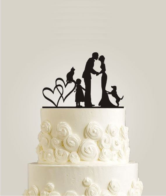 Couple Wedding Cake Topper with Cat and Dog by LaserDesignShop