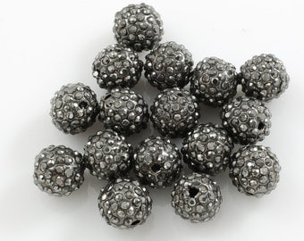 HEAVY HEMATITE-Diamond Metal Round Pave-- High Quality-- 5, 20 or 100 Pieces per order-- 6mm, 8mm, 10mm, 12mm, or 14mm