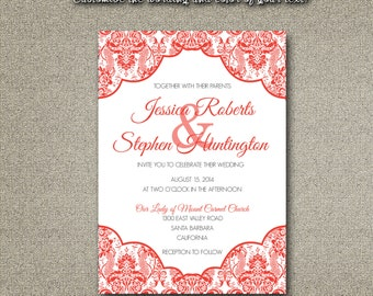 Printable Wedding Invitation ONLY PDF Instant Download - Traditional Elegant Damask Pattern in Coral (Choose Your Text Colors!)