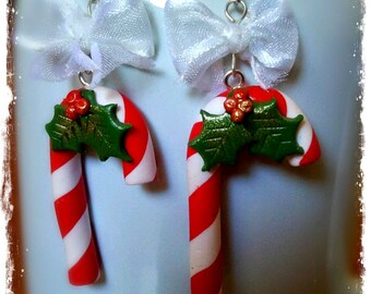 Polymer Clay Candy Canes Earrings
