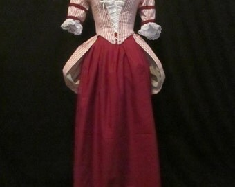 Eighteenth Century Bustled Dress; Rococo Bustled Gown; Baroque Dress; Colonial Gown; Revolutionary War Dress; 1700's Dress; Reenactment Gown