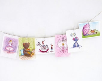 Set of 6 different postcards (A6), several themes. By Illu-Saleh.
