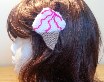 Ice Cream Cone Hair Clip SALE Raspberry Ripple Hair Accessory - Handmade - Knitted - White - Pink - Summer - Gift - For Her - UK Seller