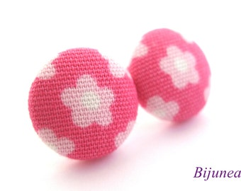Flower earrings studs -Pink Flower posts - Flower studs - Spring Flower earrings - Flower jewelry - Earrings cherry sf768