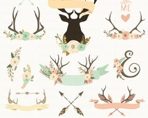 """Rustic Antlers Clipart. """"TRIBE AND FLOWER"""". Tribal Antlers, Arrows, Flowers Clipart. 14 images, 300 dpi. Eps, Png files. Instant Download."""