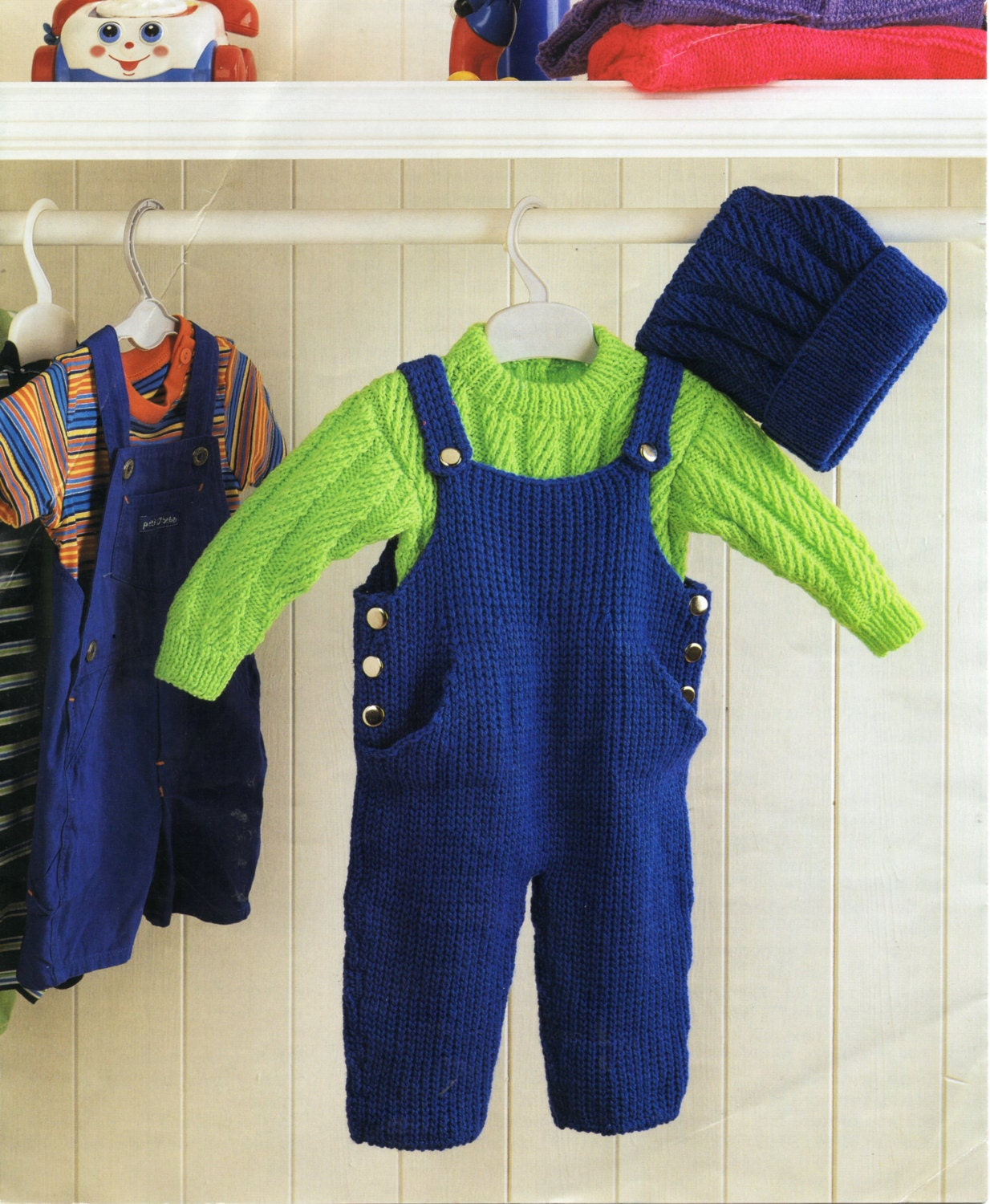 baby dungarees knitting pattern sweater hat cable sweater