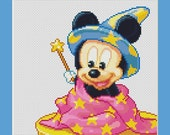 Baby Mickey Mouse Magician Counted Cross Stitch Pattern in PDF for Instant Download