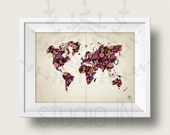 WOLRD MAP POSTER, world map art in floral, world map print, printable world map, instant download color map, wall art digital, colour leaf