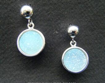 Aqua Druzy Quartz Drop Earrings Blue Druzy Drop Earrings Modern Sterling Silver Dangle Earrings AQUAMARINE Druzy Stone Druzy Agate Earrings