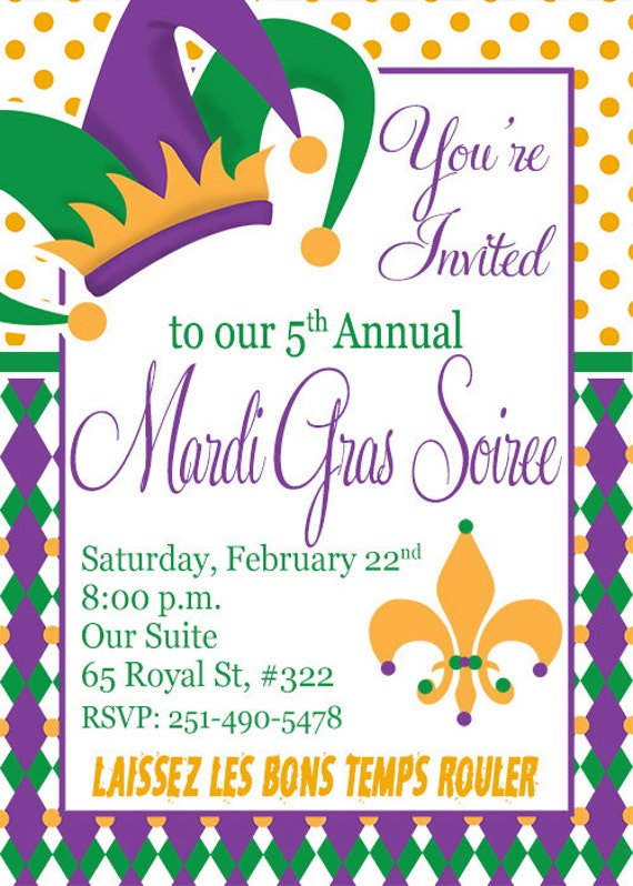 Crafty image inside free printable mardi gras invitations