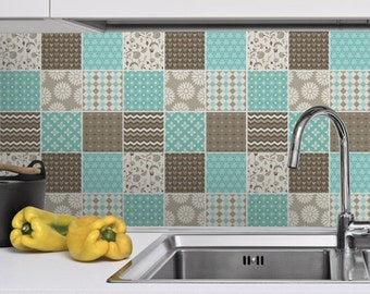 Backsplash decal - Tile Stickers - Brown and Blue - Tile Decals - Tiles for  Kitchen