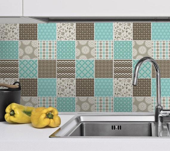 backsplash decal tile stickers brown and blue tile