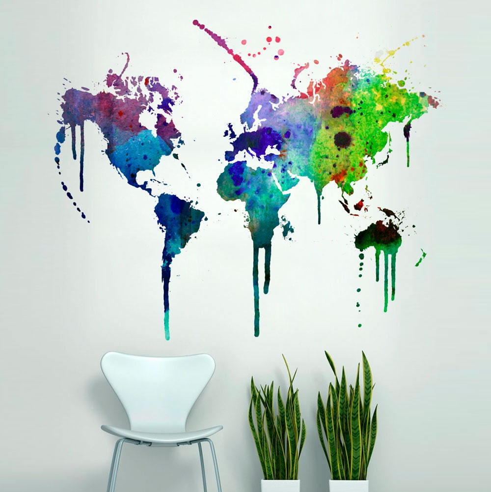world map watercolor decal watercolor world map wall zoom