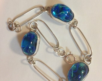 sterling silver bracelet with 3 turquoise lampworked beads, 7 inches long