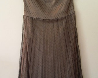 Black lace dress, XS, strapless dress, boho dress, lace, organ pleated dress, black dress