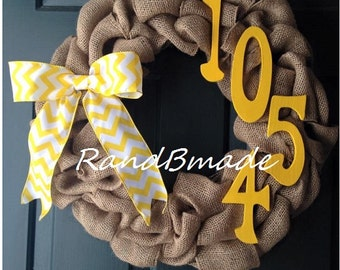 Burlap Wreath Front Door Spring Wreath Year Round Address