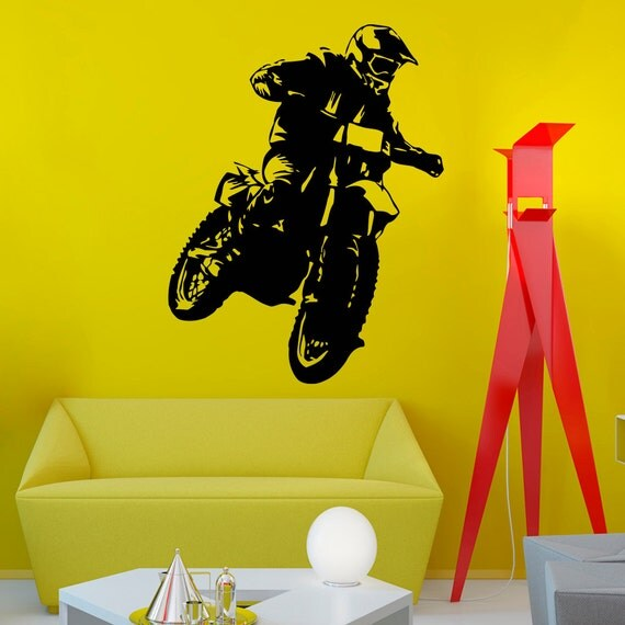 Motocross wall decals vinyl stickers motorcycle by for Dirt bike wall mural