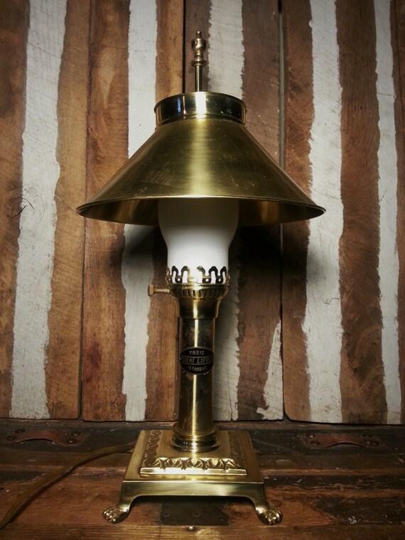 Vintage Brass Orient Express Paris Istanbul Table Desk Lamp