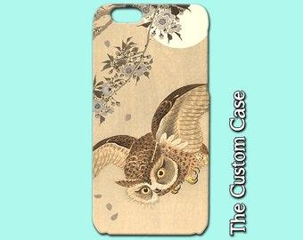 Owl Iphone Case, Vintage Japanese Night Owl Print, Moon and Owl, Asian Art Iphone Case Iphone Case, Iphone 4/5/5c/6/6plus