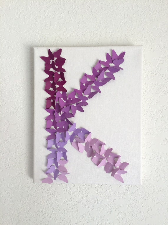Purple lavender ombre butterfly letter wall decor baby girls - Purple ombre wall ...