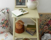 Vintage shabby painted bamboo side, bedside, lamp, hall table