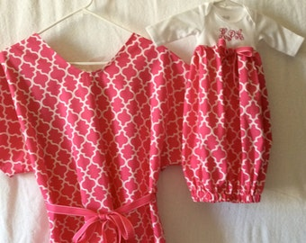 handmade maternity hospital gown and matching infant gown