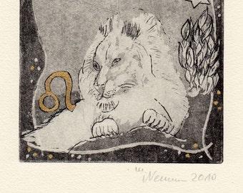 Lion - Zodiac - horoscope - Astrology - Zodiac original etching - fine art print - limited edition - etching - miniature