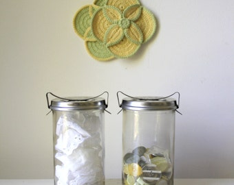 Vintage Fowler preserving jars/ craft room storage/ rustic wedding candles/ mini terrariums/ PRICE per jar